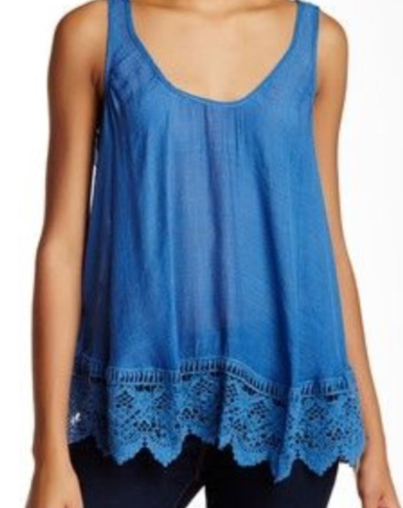 The Gretchen - Women's Lace Tank in Blue