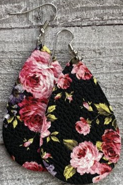 Leather Floral Printed Teardrop Earrings in Black
