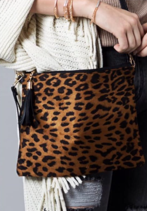 Dark Leopard Crossbody/Clutch Bag