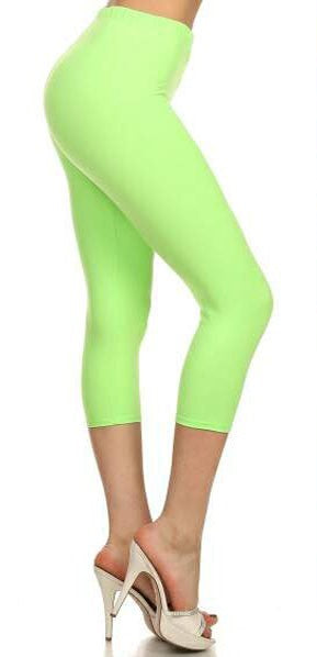 Women's Lime Capri Leggings - Apple Girl Boutique