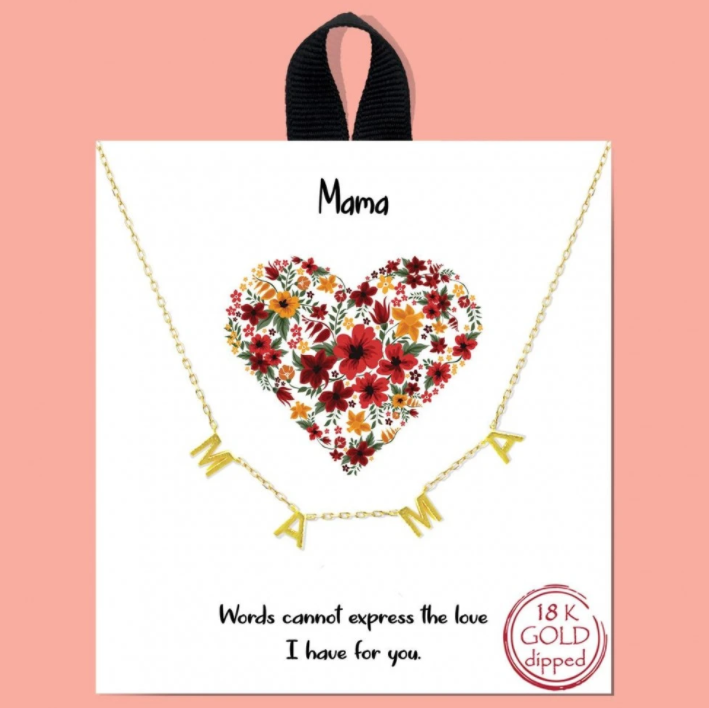 Mama Gold Necklace with Card Saying