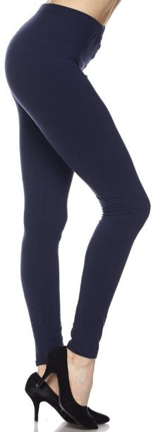 Navy Solid - Womens Plus Size Leggings