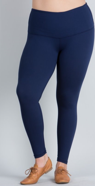 Navy Solid Leggings with Yoga Band - Women's Extra TC Plus