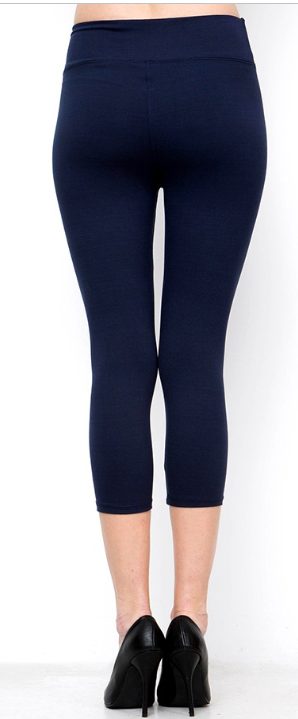 Navy Solid Capri Leggings with Yoga Band - Women's Plus Size