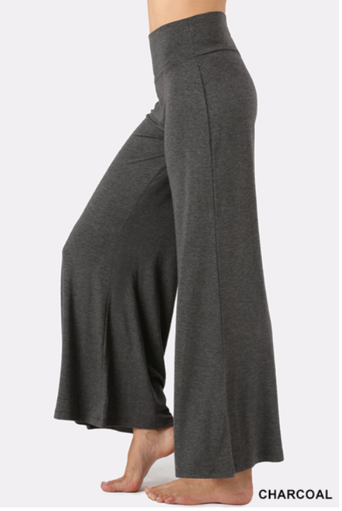 Solid Gray Palazzo Pants for Women