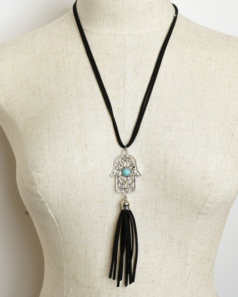 Palm Shaped Black Tassel Drop Necklace with Turquoise Gem