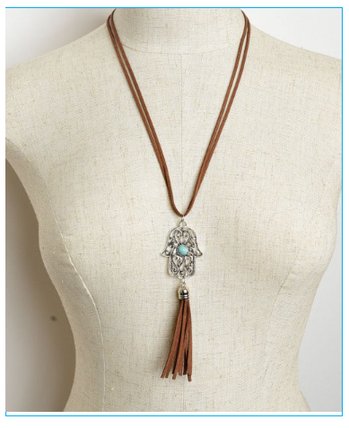 Palm Shaped Brown Tassel Drop Necklace with Turquoise Gem