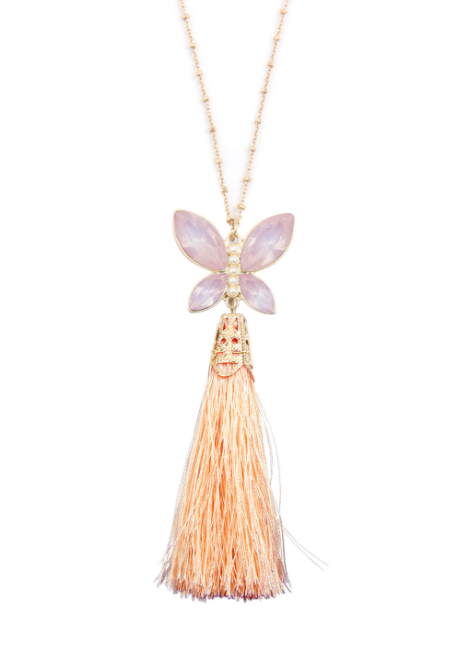 Peach Butterfly Tassel Necklace