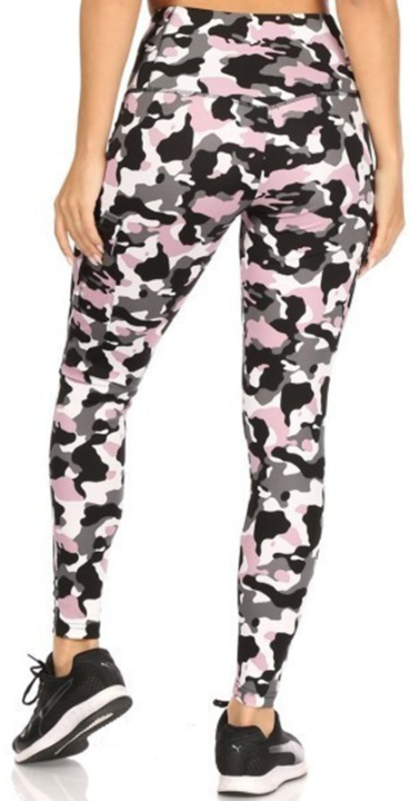Pink & Black Camo Athletic Leggings for Women