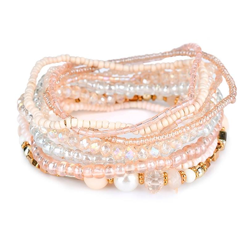 Pink & Cream Beaded Stretchy Bracelet Set
