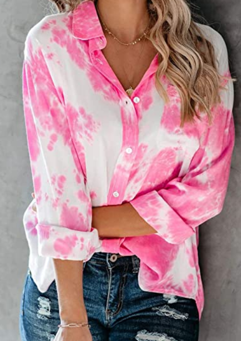 The Jennifer - Women's Button Down Tie Dye Top in Pink