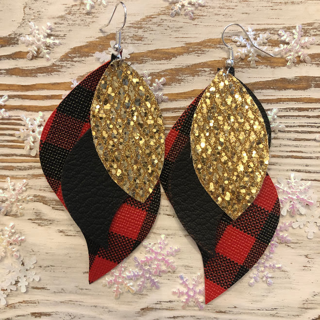 Buffalo Plaid & Glitter 3 Layer Earrings in Red & Black