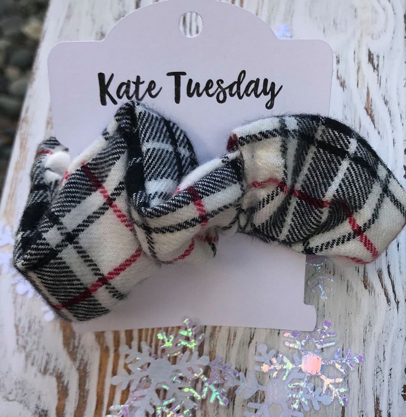White & Black Plaid Scrunchie