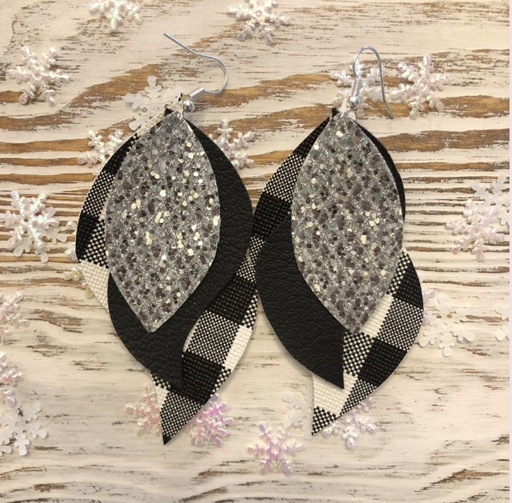 Buffalo Plaid & Glitter 3 Layer Earrings in White & Black
