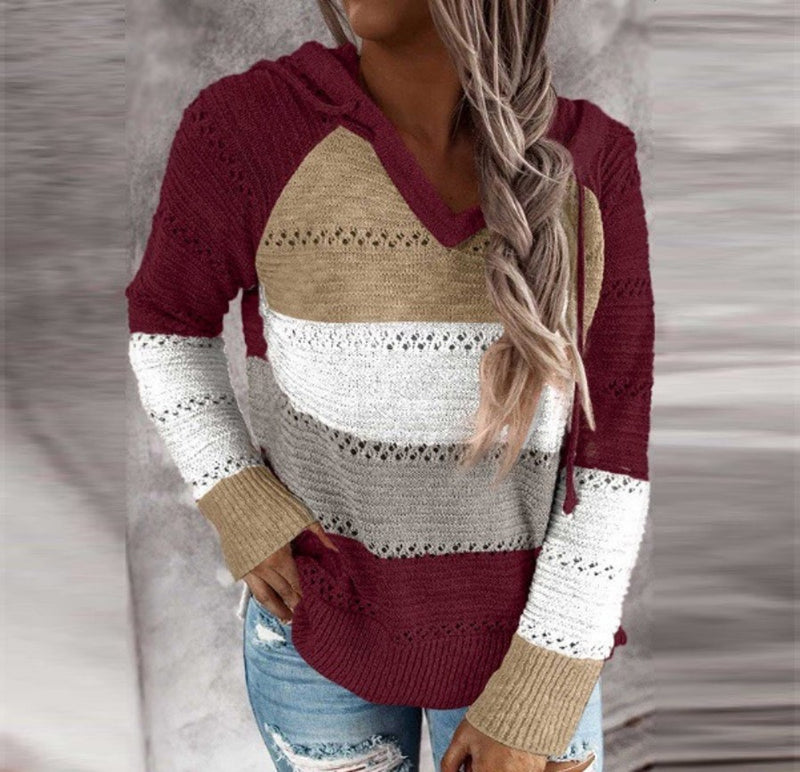 The Rebecca - Women's Hooded Sweater in Burgundy Multi