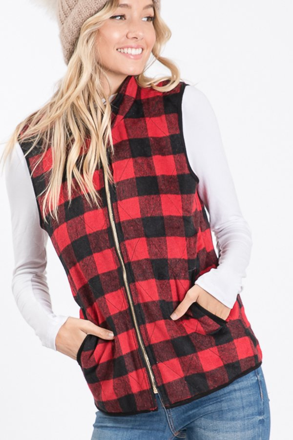 The Kassidy - Women's Plus Size Black & Red Fleece Vest