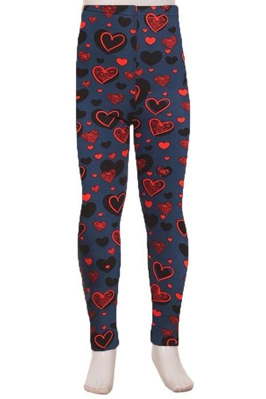 Red, Blue and I Love You - Girls Leggings