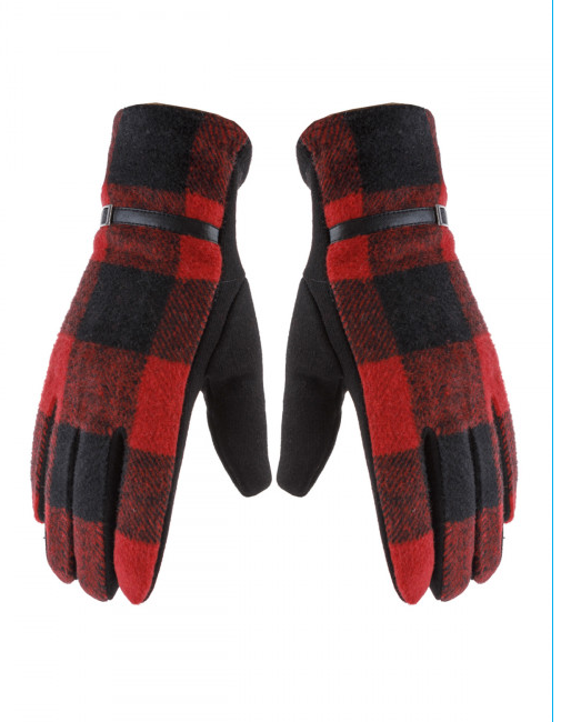 Red & Black Buffalo Plaid Smart Gloves