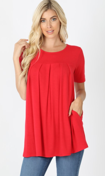 The Renee - Women's Top in Ruby Red