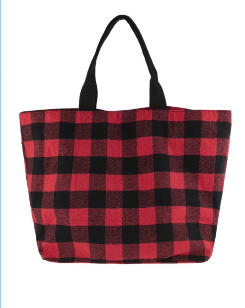 Buffalo Plaid Fabric Tote Bag - Red & Black