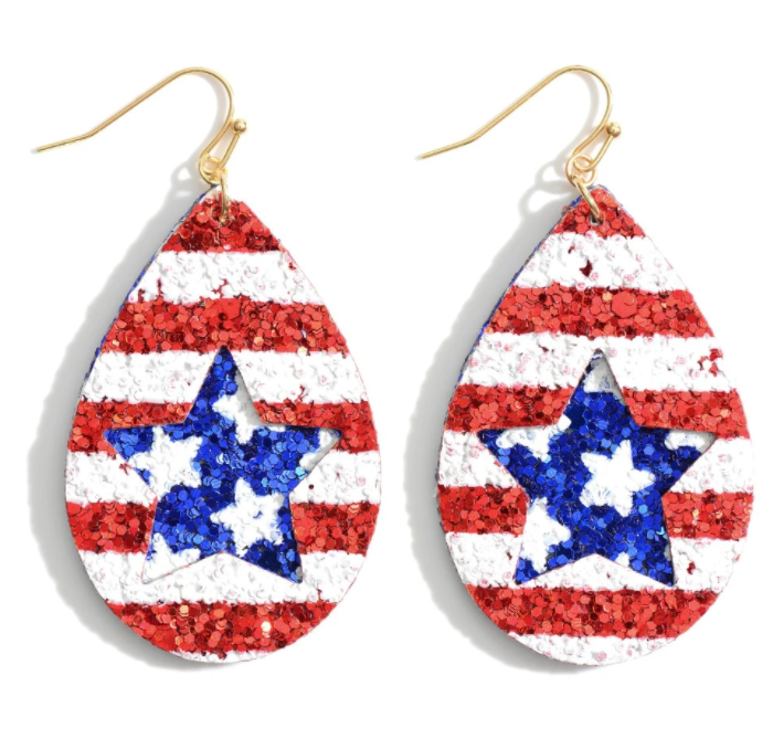 Red White & Blue Glitter Teardrop Earrings