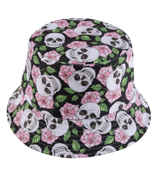 Black Rose Skull Reversible Bucket Hat