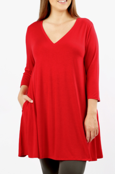 The Emma - Women's Plus Size Flared Tunic in Ruby Red