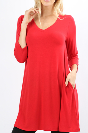 The Emma - Women's Flared Tunic in Ruby Red