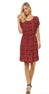 The Savannah - Women's Red Print Cold Shoulder Dress