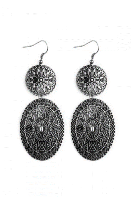 Silver Chevron Mandala Dangle Earrings