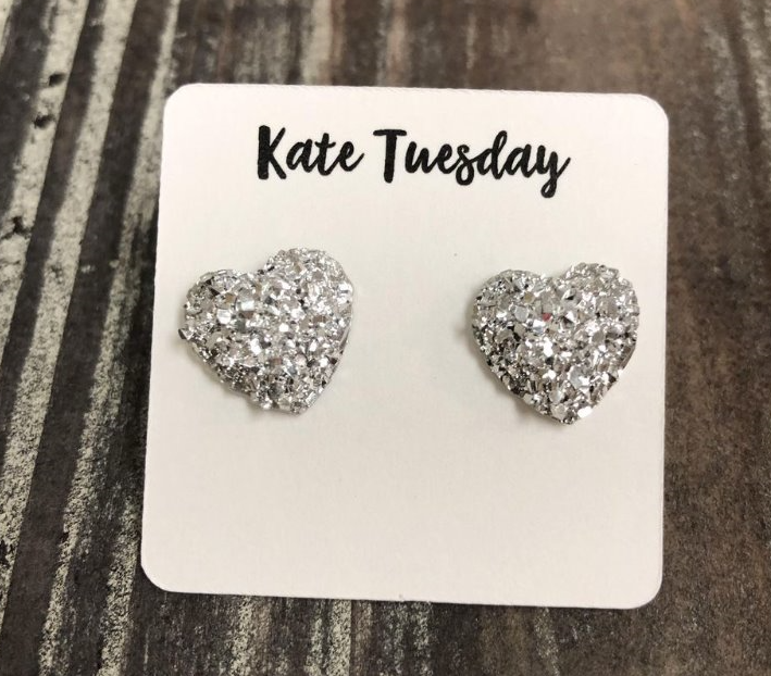 Glittery Silver Druzy Heart Earrings