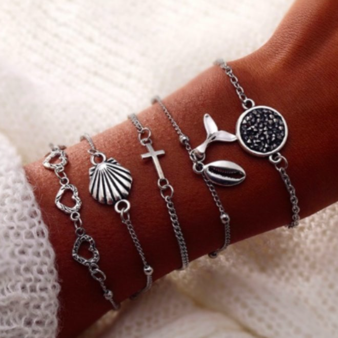 Silver Shell Cross and Whale Tail Bracelet Set