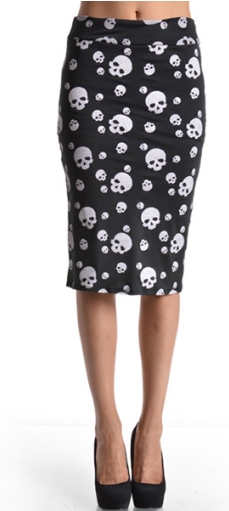 Skull Candy- Women's Pencil Skirt