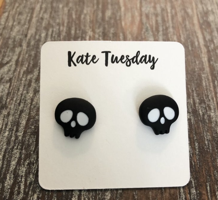 Black Alien Skull Stud Earrings
