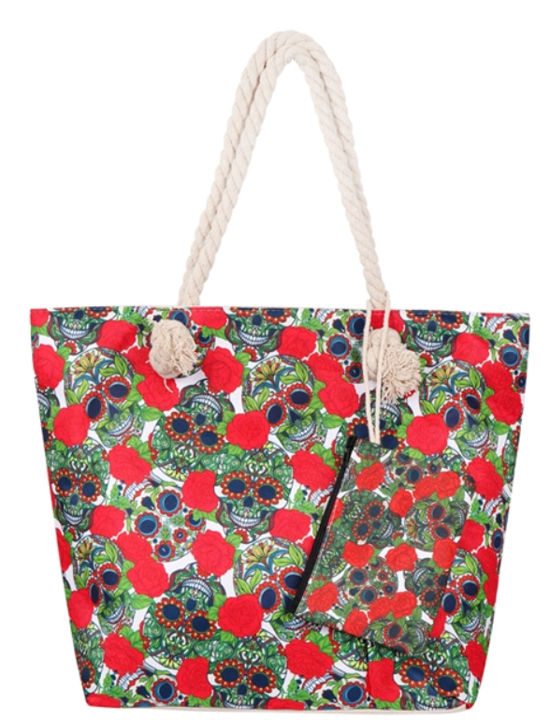 Skull & Red Rose Tote Bag with Matching Coin Purse