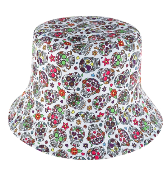 White Sugar Skull Reversible Bucket Hat