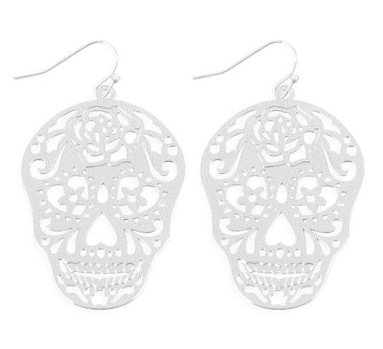 Sugar Skull Metal Filigree Earrings in Silver