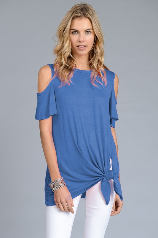 The Stacey - Women's Cold Shoulder Top in Slate Blue
