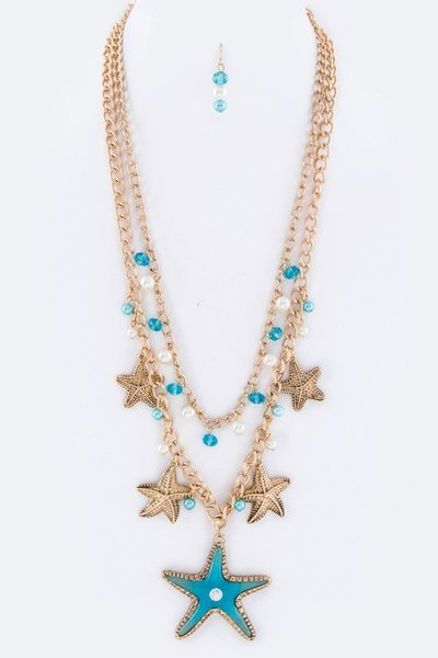 Starfish Charms Necklace & Earring Set