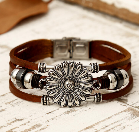 Sunflower & Leather Bracelet