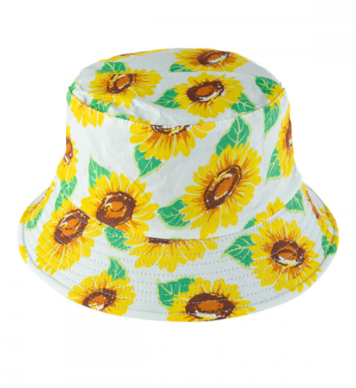 White Sunflower Reversible Bucket Hat