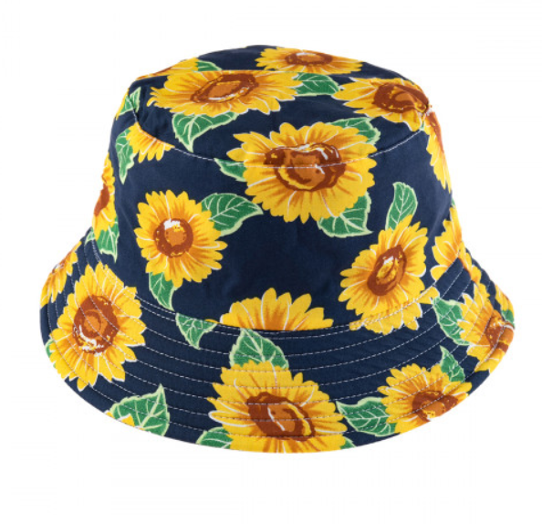 Navy Sunflower Reversible Bucket Hat
