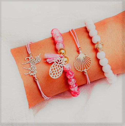 Unicorn & Bead Summer Bracelet Set