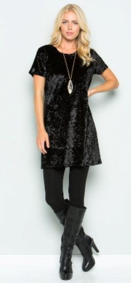 The Vivian - Women's Velvet Short Sleeve Dress