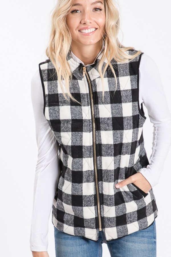 The Kassidy - Women's Black & White Fleece Vest