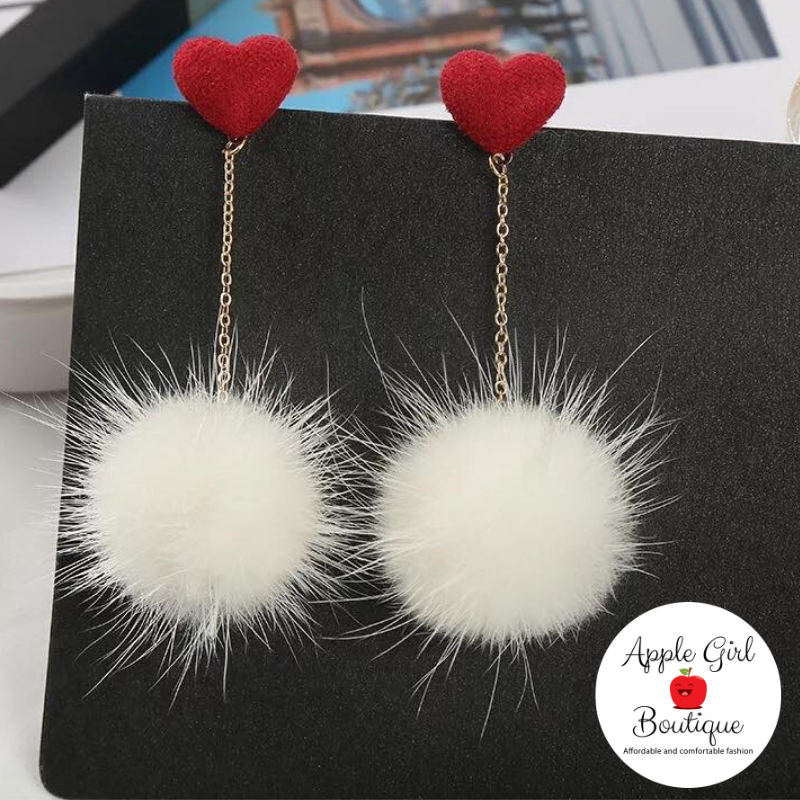 Heart & Pom-Pom Dangle Earrings in White