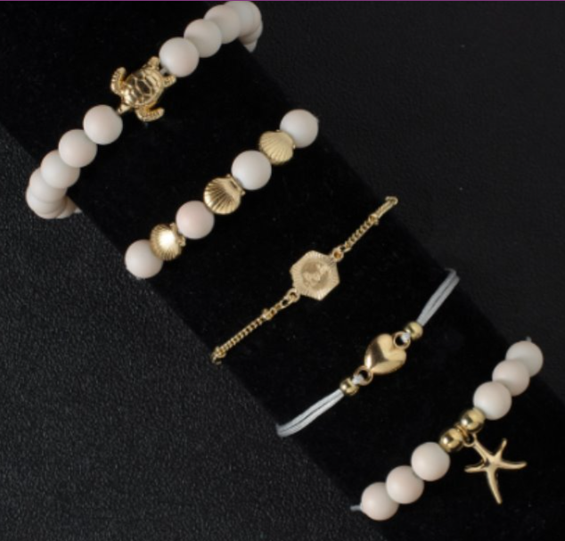 White Beaded Gold Shell Bracelet Set