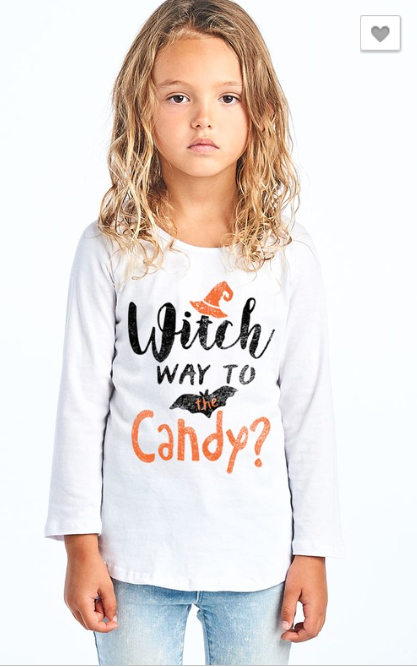 Witch Way to the Candy - Girls Long Sleeve Top in White