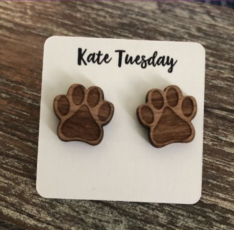 Paw Print Wooden Stud Engraved Earrings
