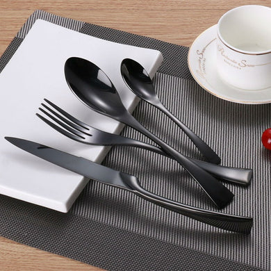 4PCS/Lot Stainless Steel Black Cutlery Set Dinnerware Tableware Silverware Sets Dinner Knife and Fork Set